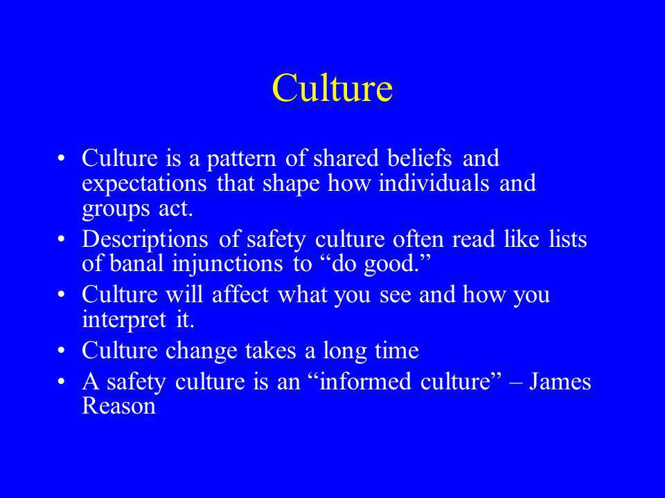Culture Culture is a pattern of shared beliefs and expectations that shape how individuals and groups act.