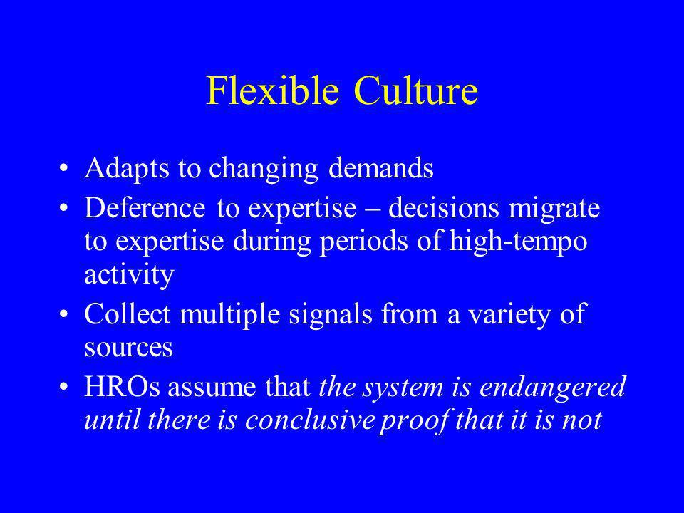 Flexible Culture Adapts to changing demands