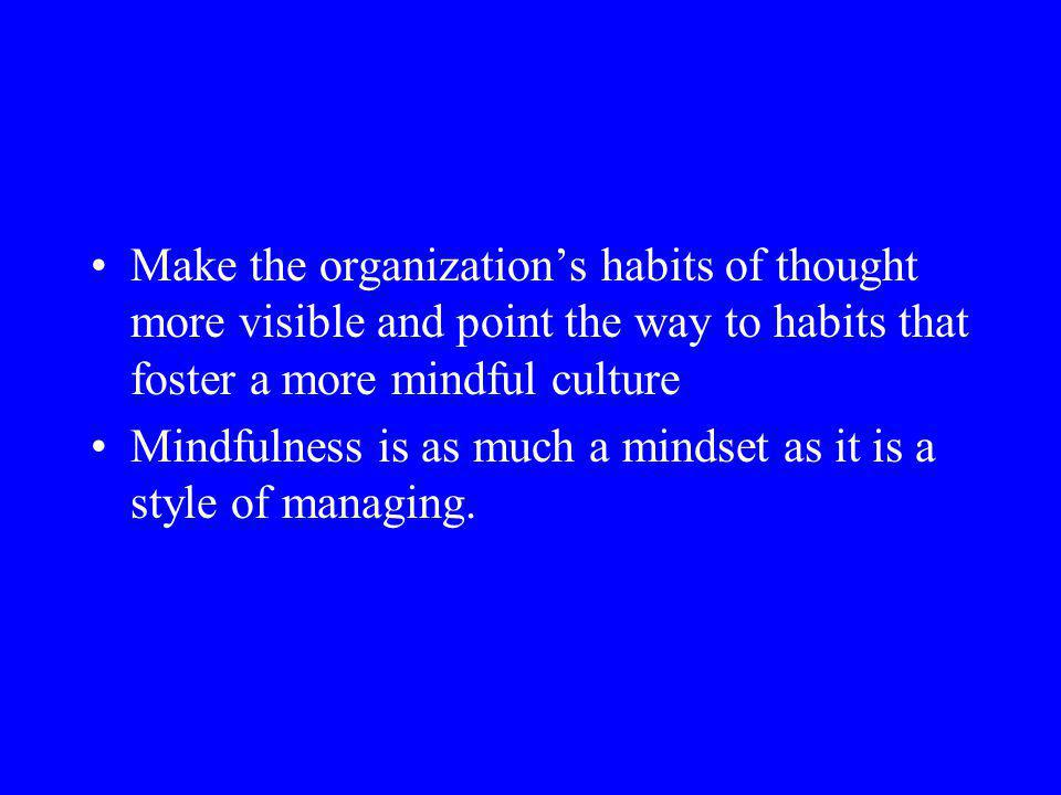 Make the organization's habits of thought more visible and point the way to habits that foster a more mindful culture