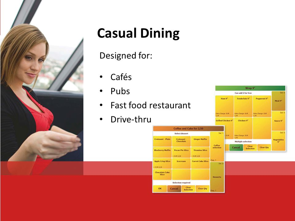 Casual Dining Designed for: Cafés Pubs Fast food restaurant Drive-thru