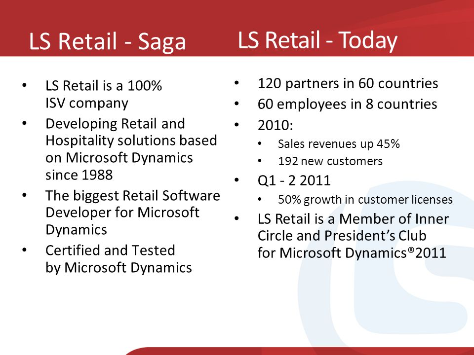 LS Retail - Saga LS Retail - Today LS Retail is a 100% ISV company