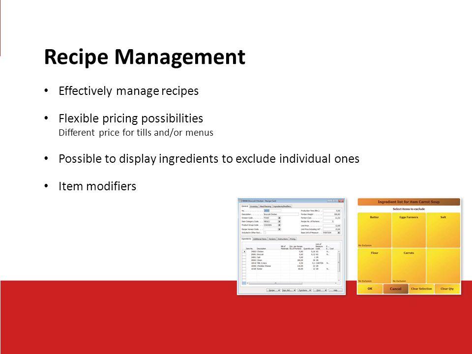 Recipe Management Effectively manage recipes