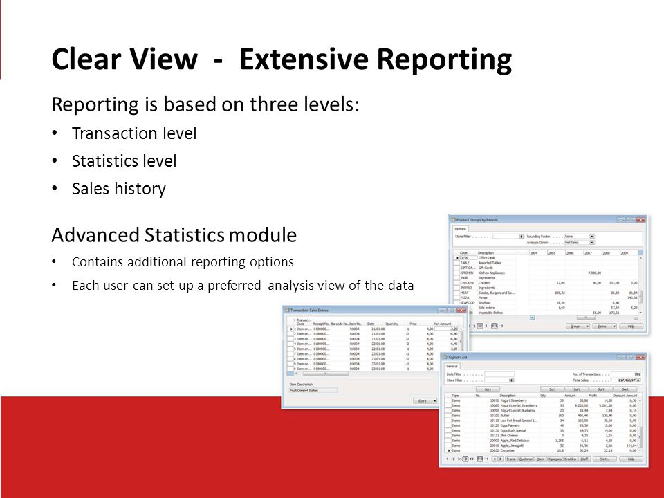 Clear View - Extensive Reporting