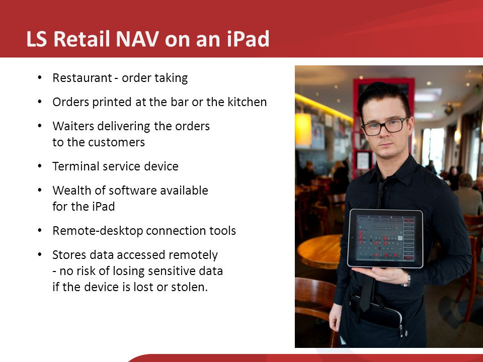 LS Retail NAV on an iPad Restaurant - order taking