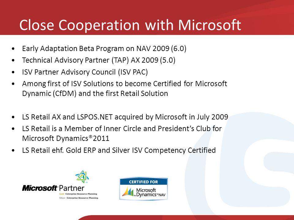 Close Cooperation with Microsoft