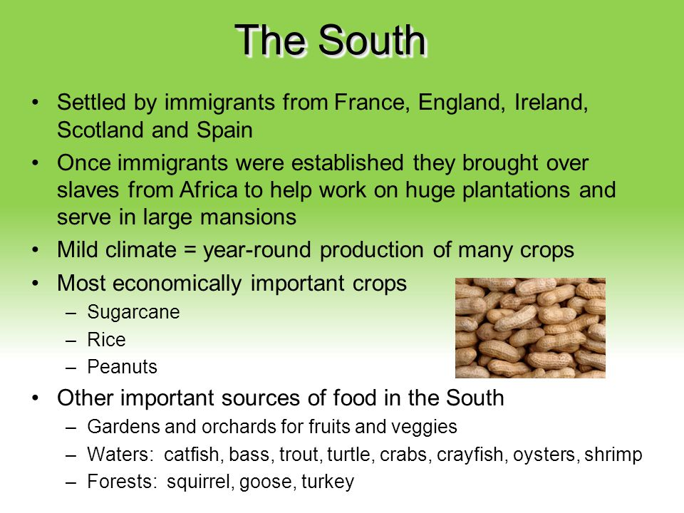 The South Settled by immigrants from France, England, Ireland, Scotland and Spain.