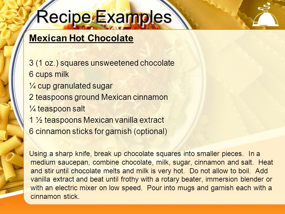 Recipe Examples Mexican Hot Chocolate