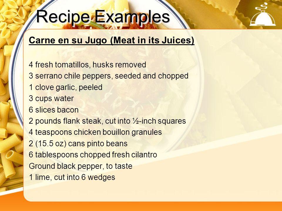 Recipe Examples Carne en su Jugo (Meat in its Juices)