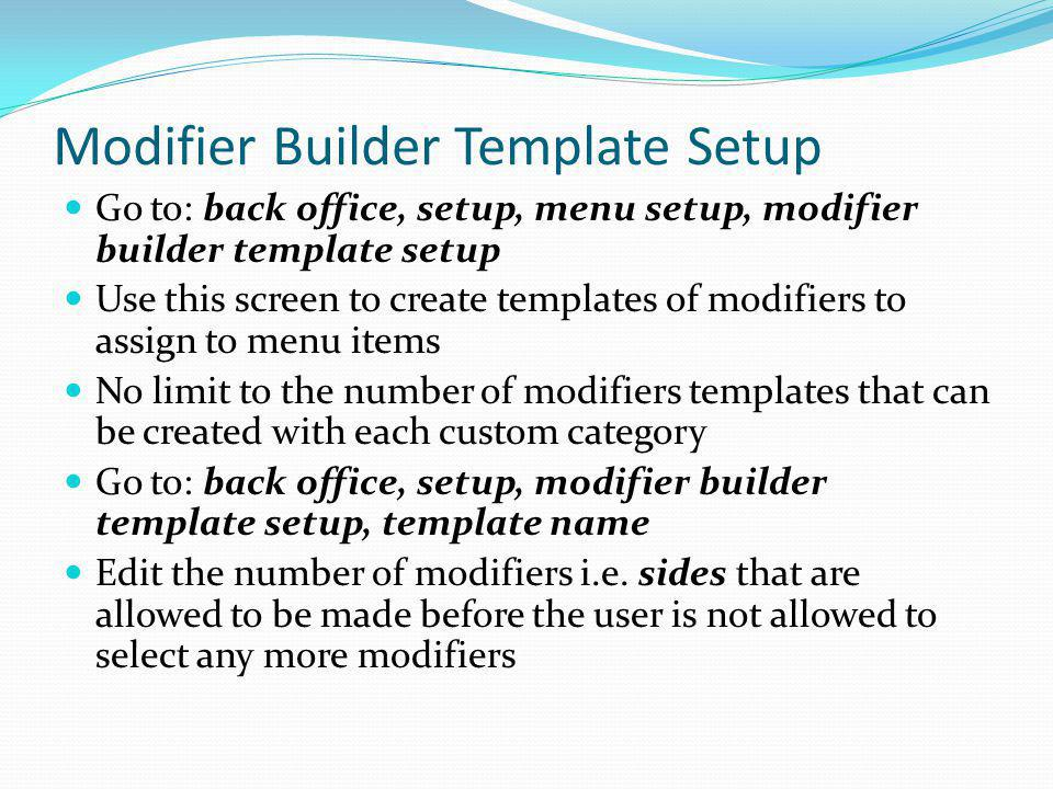 Modifier Builder Template Setup