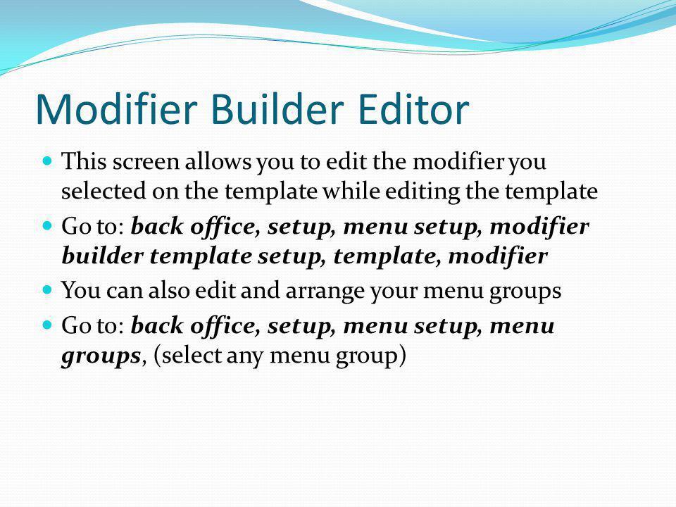 Modifier Builder Editor