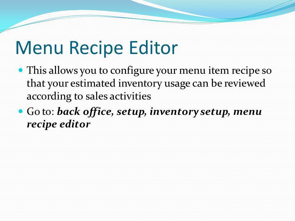 Menu Recipe Editor