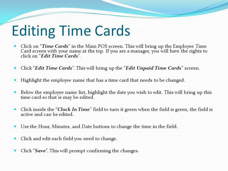 Editing Time Cards