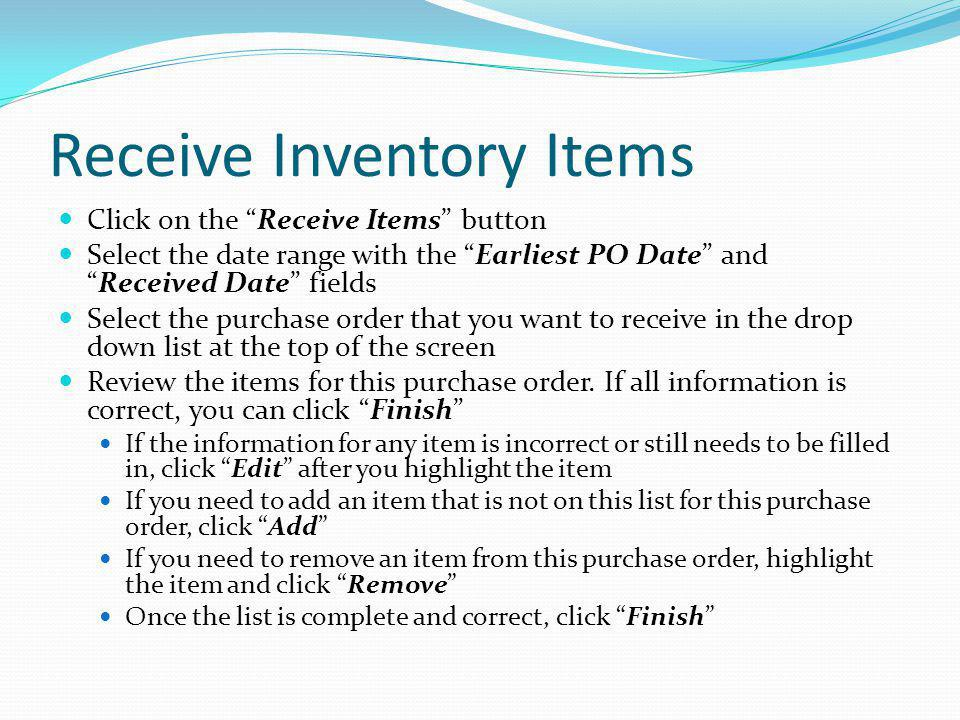 Receive Inventory Items