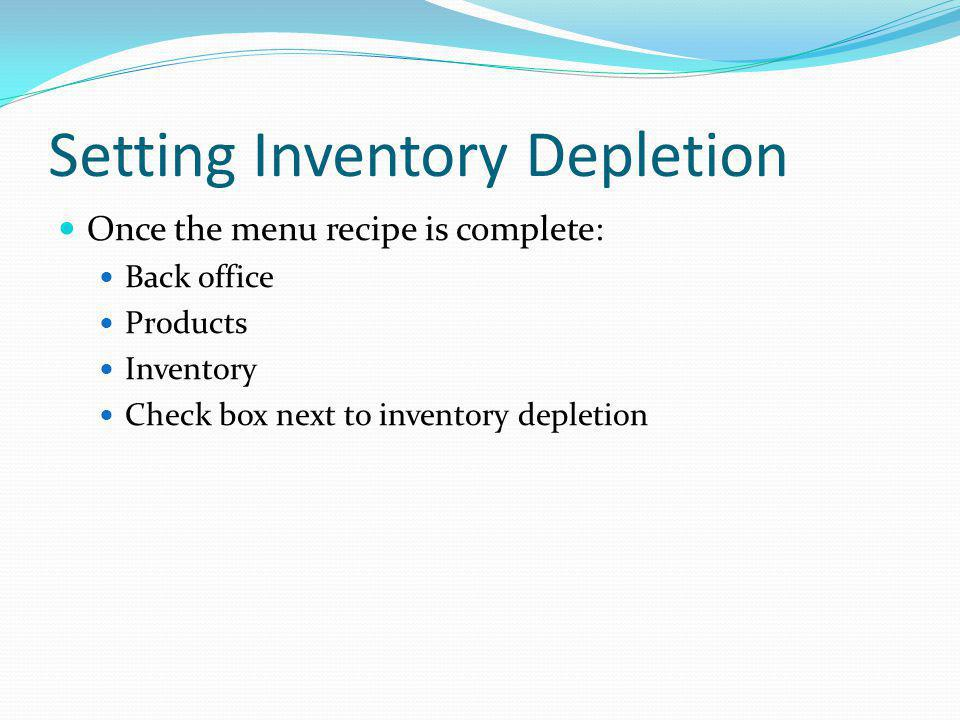 Setting Inventory Depletion