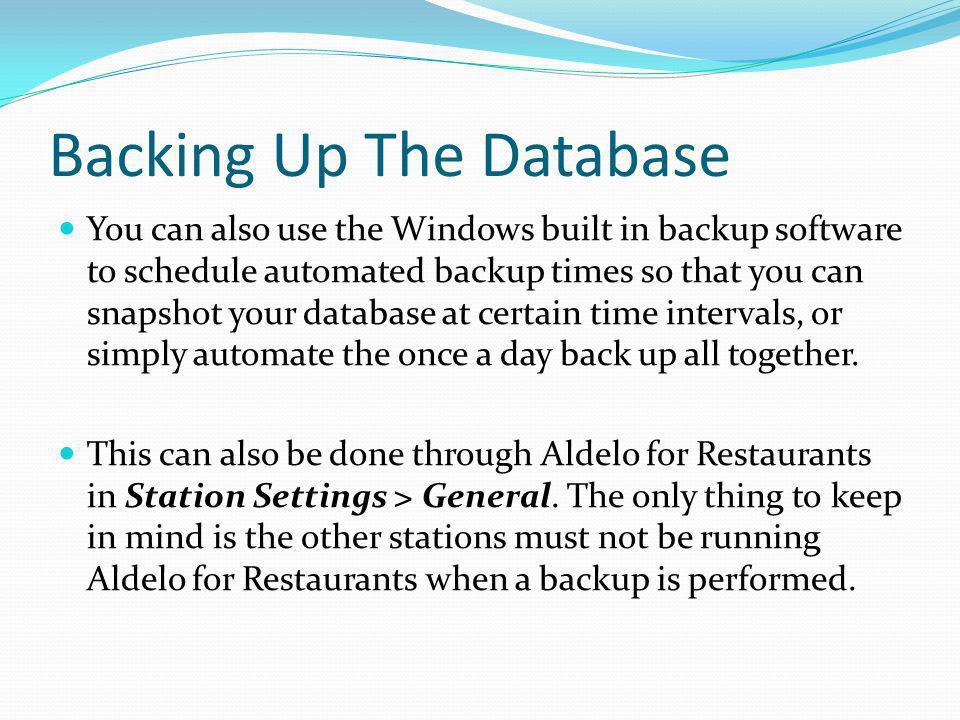 Backing Up The Database