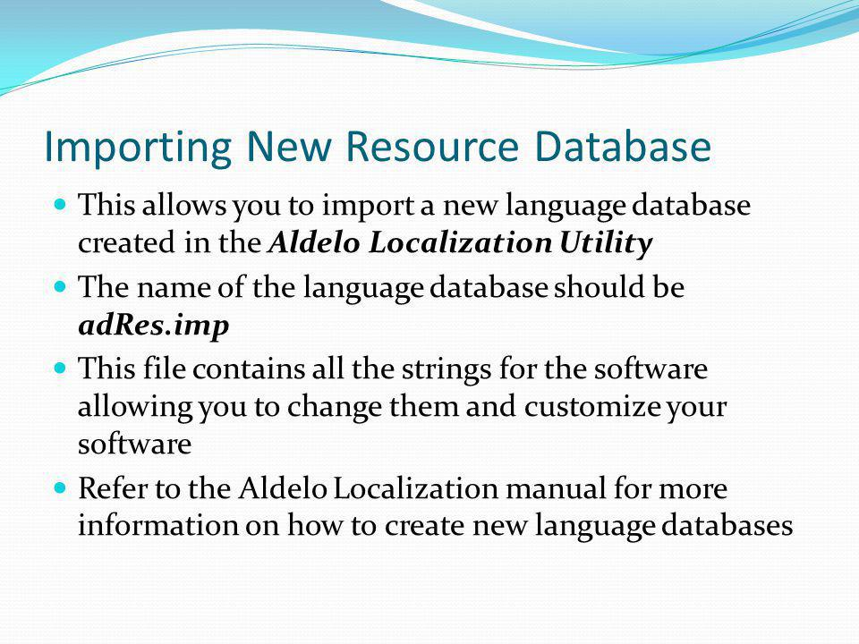 Importing New Resource Database