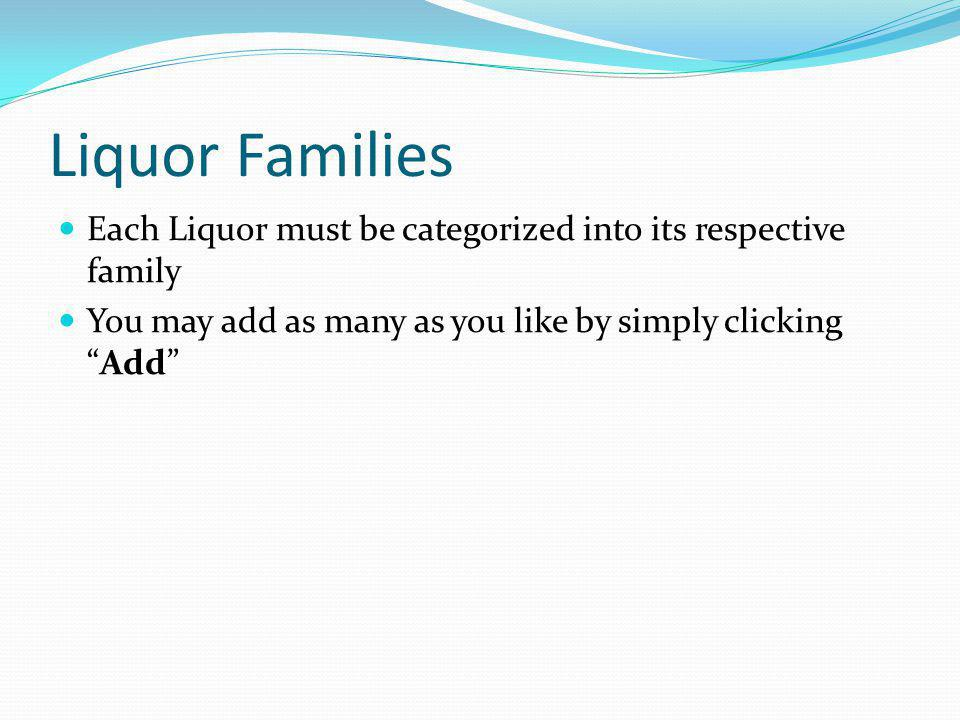 Liquor Families Each Liquor must be categorized into its respective family.