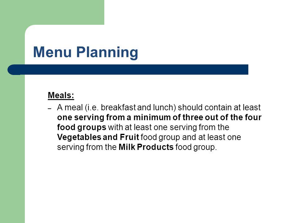 Menu Planning Meals: