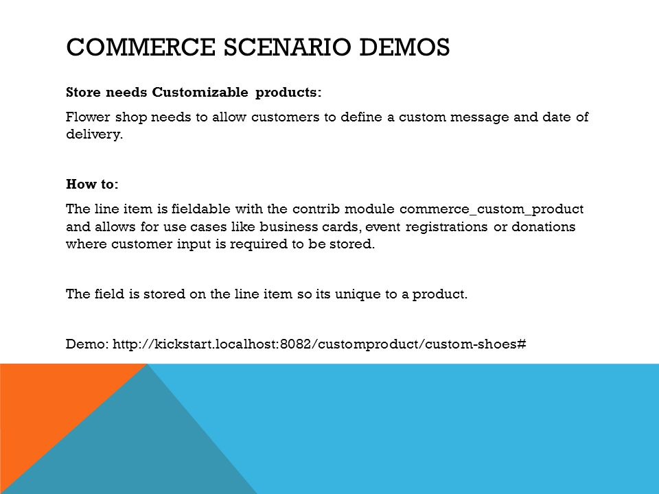 Commerce scenario Demos