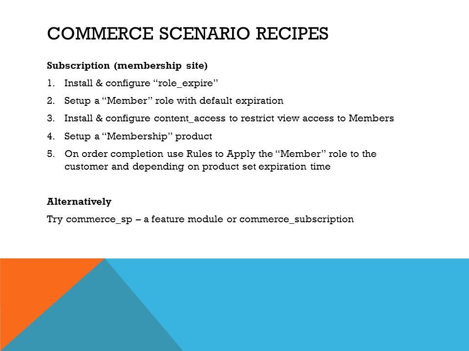 Commerce scenario recipes