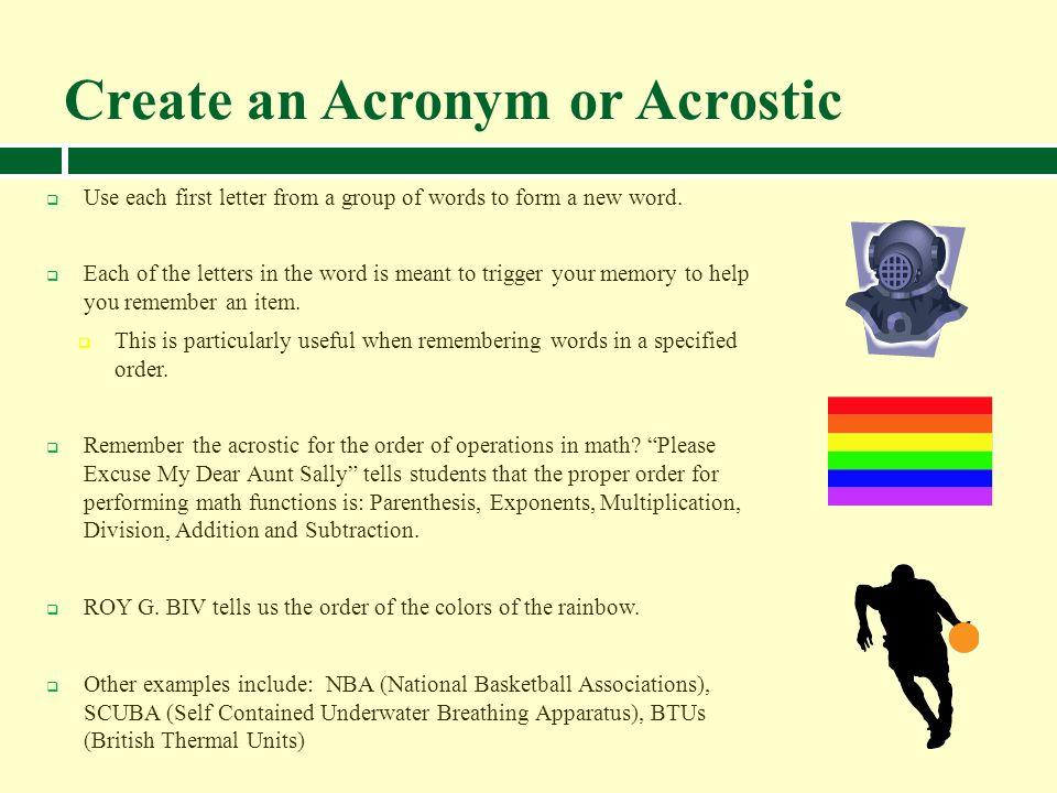 Create an Acronym or Acrostic