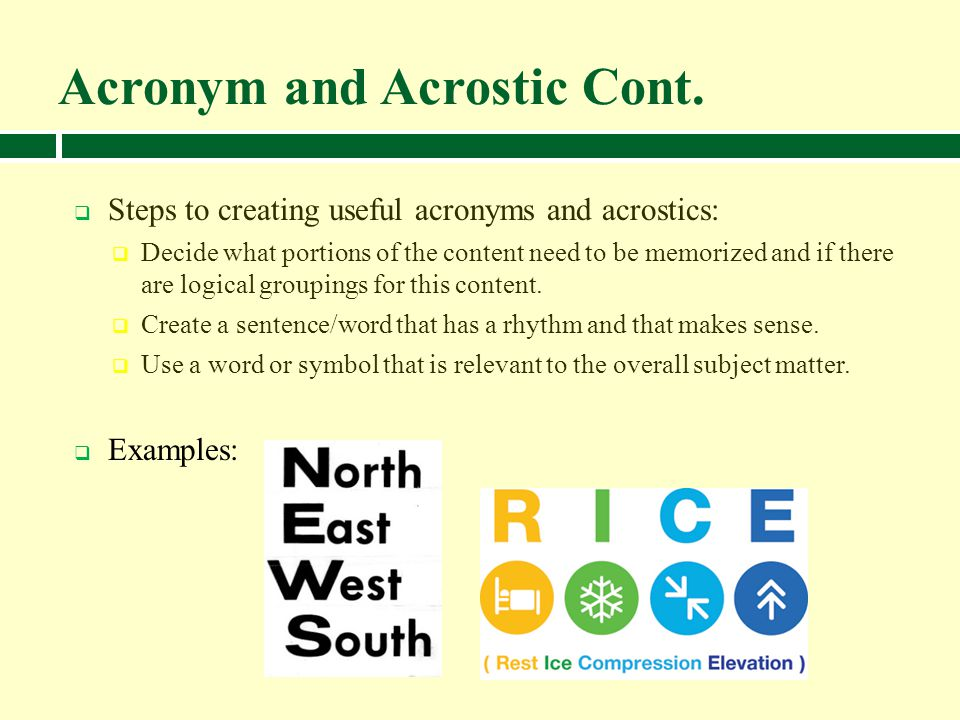 Acronym and Acrostic Cont.