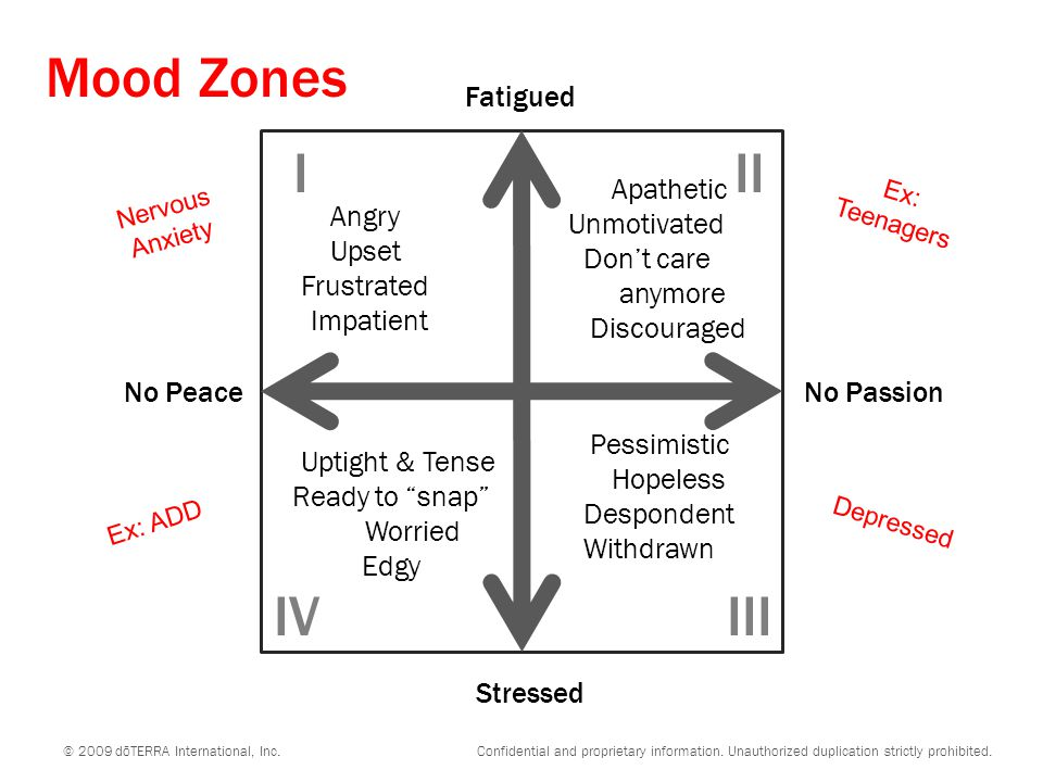Mood Zones I II IV III Fatigued Angry Upset Frustrated Impatient
