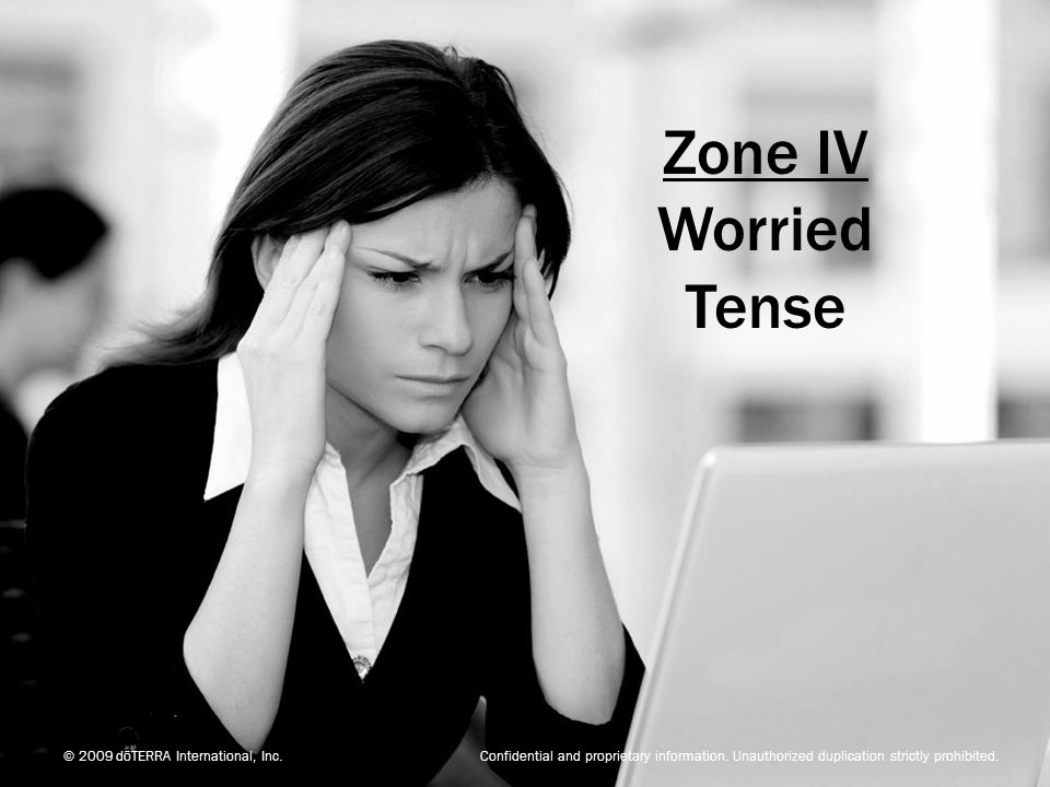 Zone IV Worried. Tense.