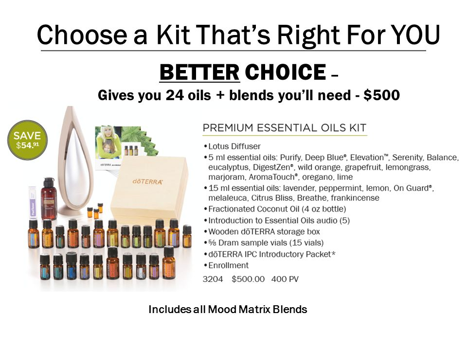 Choose a Kit That's Right For YOU Includes all Mood Matrix Blends