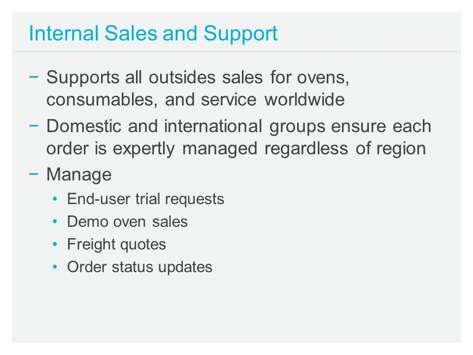 Internal Sales and Support