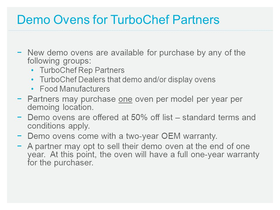 Demo Ovens for TurboChef Partners