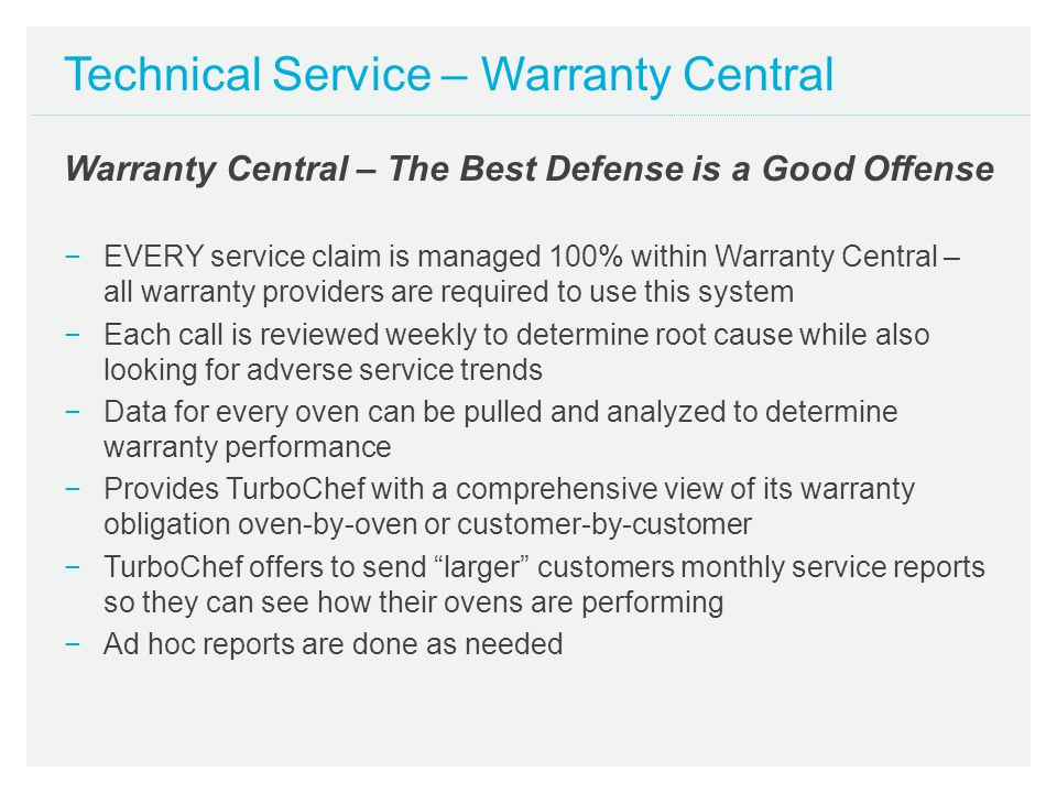 Technical Service – Warranty Central