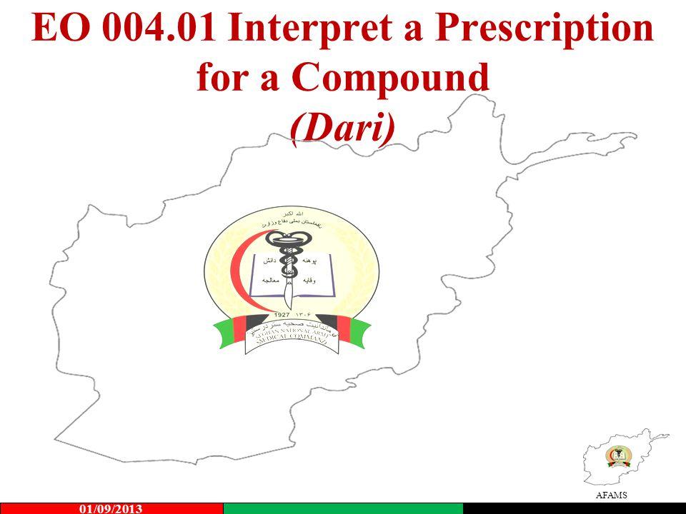 EO 004.01 Interpret a Prescription for a Compound (Dari)