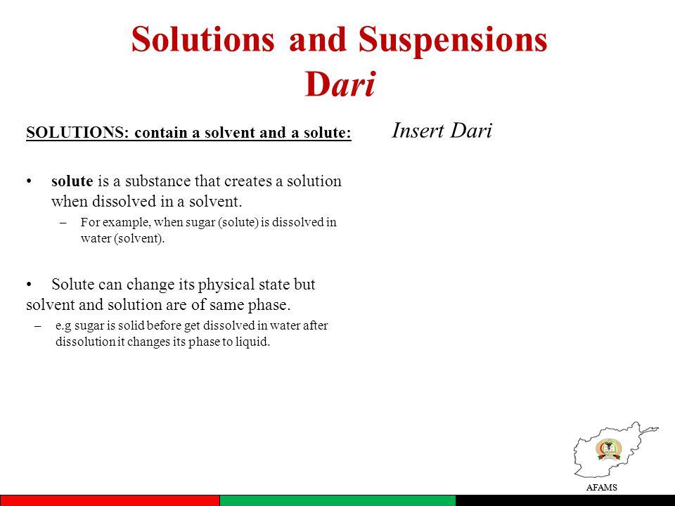 Solutions and Suspensions Dari