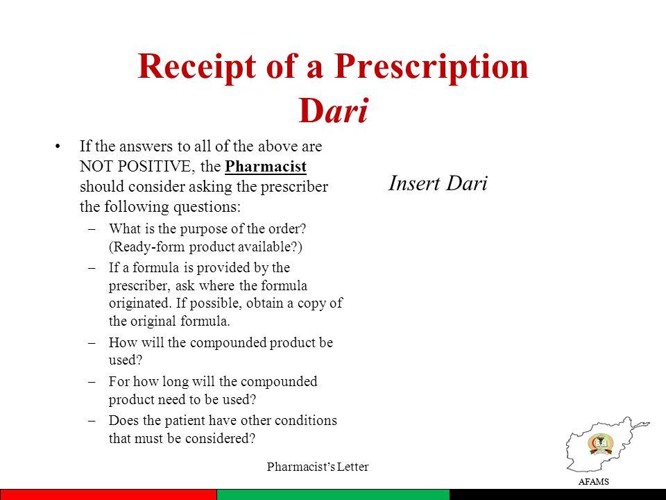 Receipt of a Prescription Dari