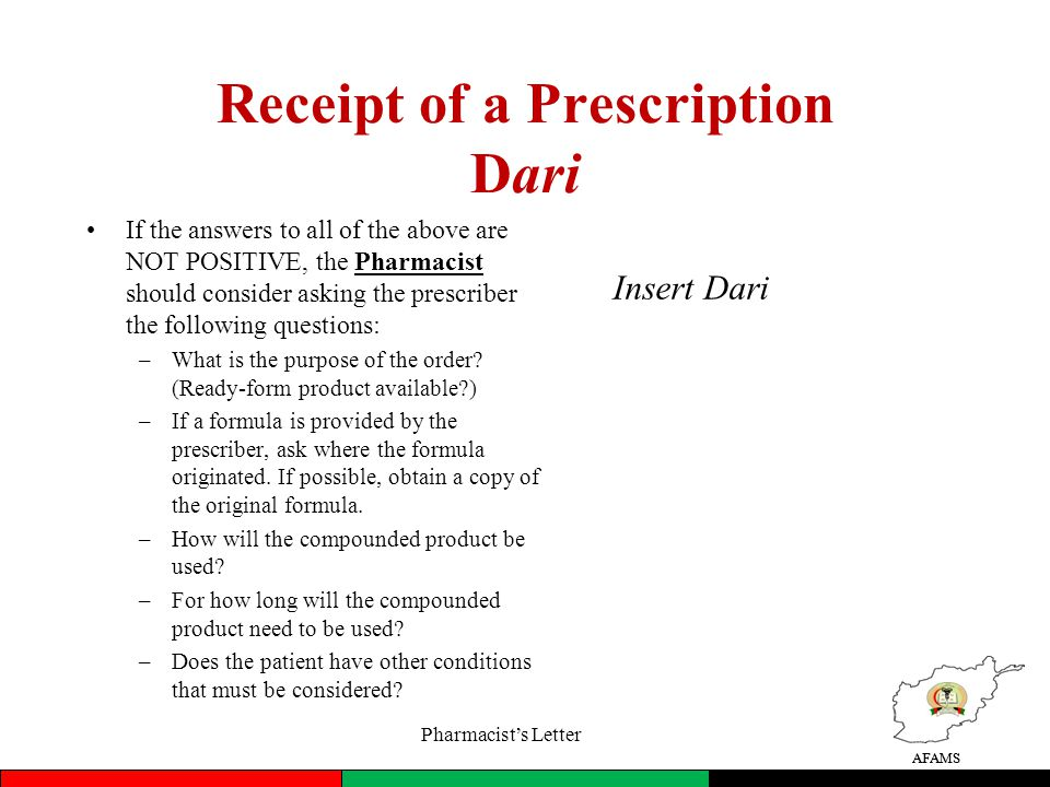 eo interpret a prescription for a compound (dari) - ppt download