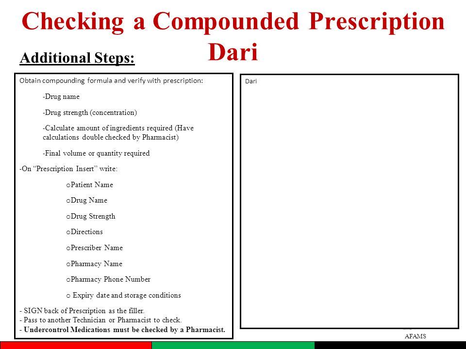 Checking a Compounded Prescription Dari