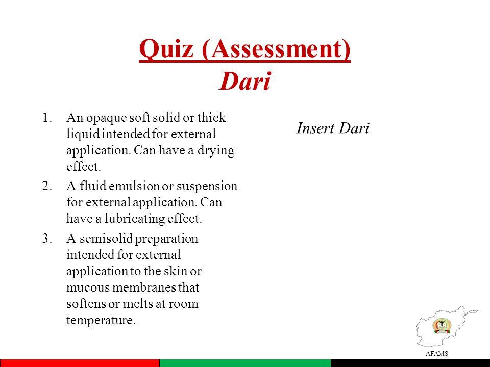 Quiz (Assessment) Dari