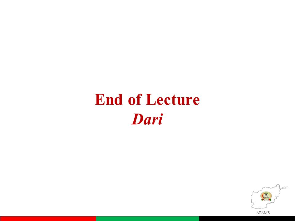 End of Lecture Dari