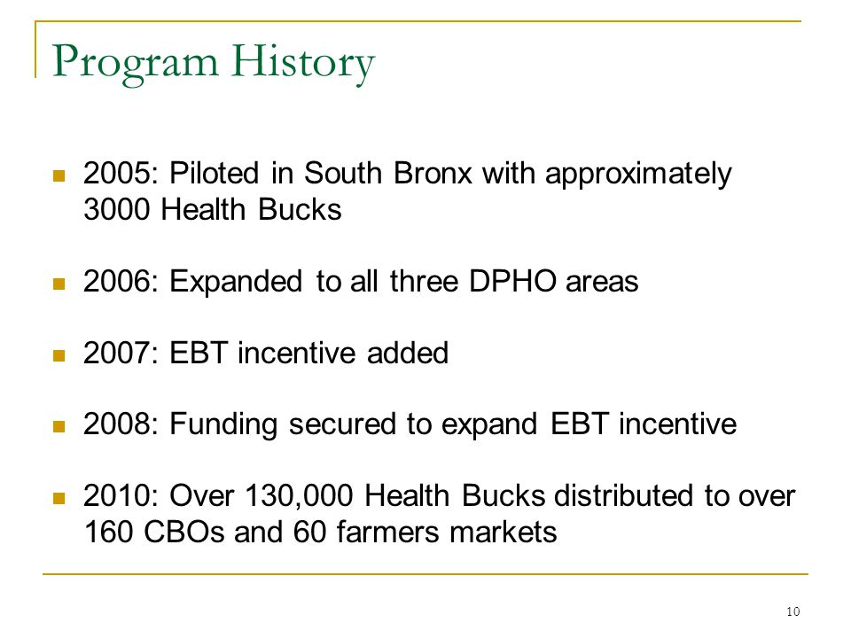 Program History 2005: Piloted in South Bronx with approximately 3000 Health Bucks. 2006: Expanded to all three DPHO areas.