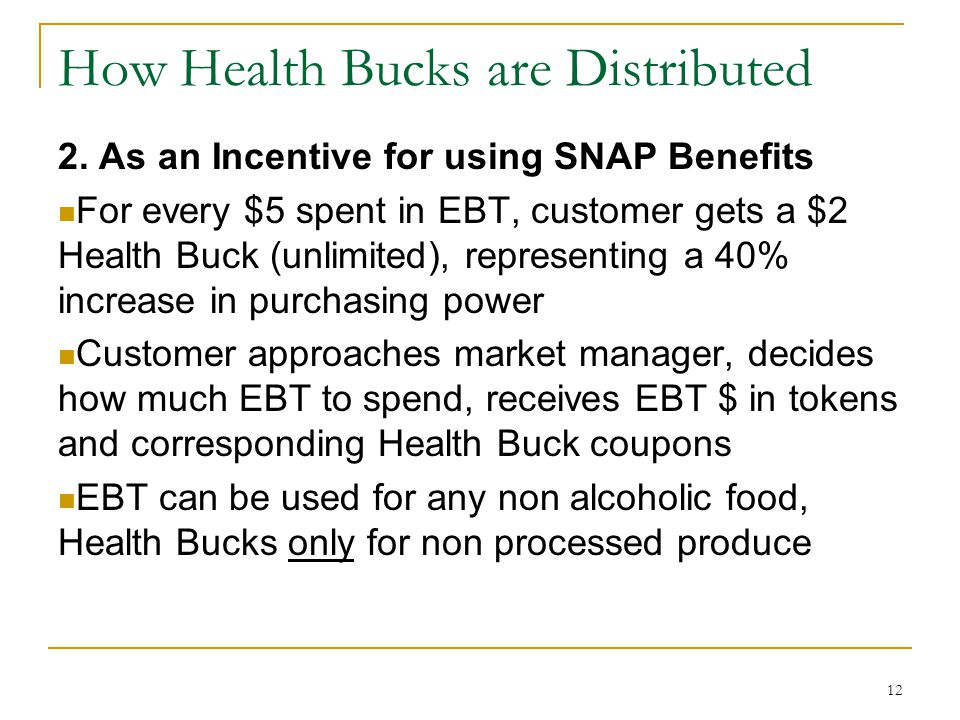 How Health Bucks are Distributed