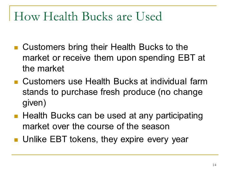 How Health Bucks are Used