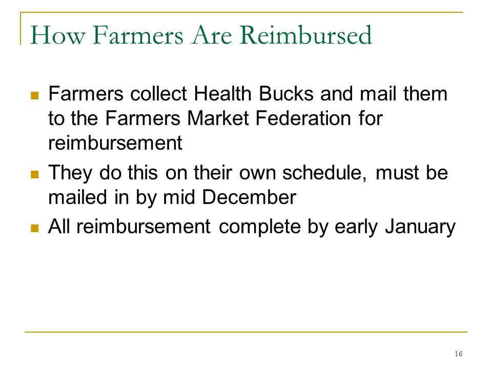 How Farmers Are Reimbursed