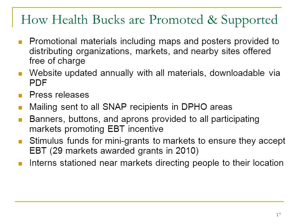 How Health Bucks are Promoted & Supported