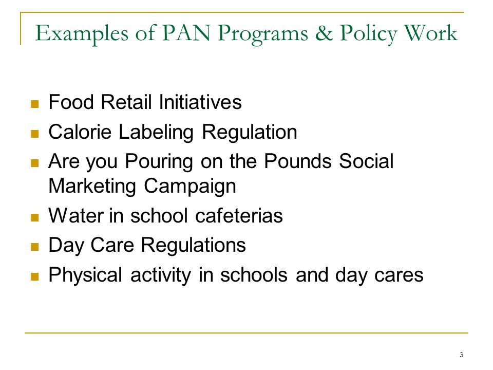 Examples of PAN Programs & Policy Work