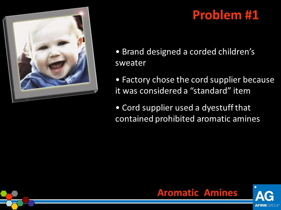 Problem #1 Aromatic Amines Brand designed a corded children's sweater