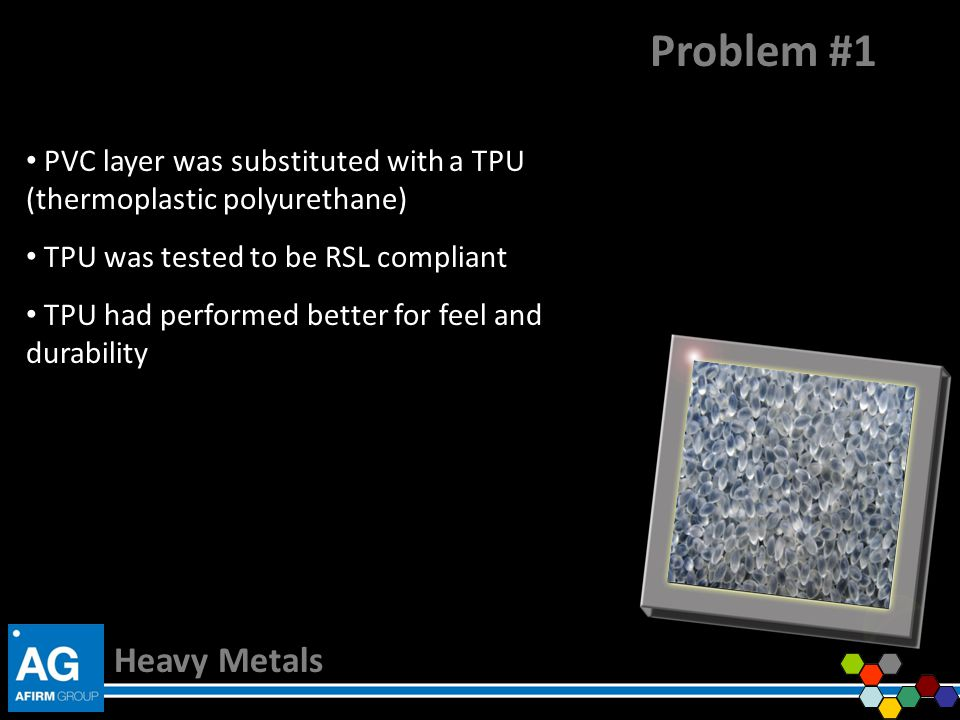 Problem #1 PVC layer was substituted with a TPU (thermoplastic polyurethane) TPU was tested to be RSL compliant.