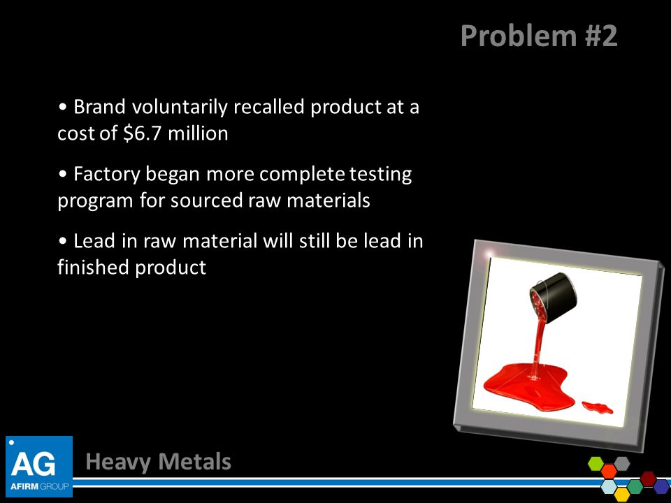 Problem #2 Brand voluntarily recalled product at a cost of $6.7 million. Factory began more complete testing program for sourced raw materials.