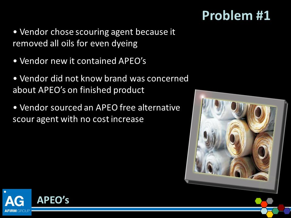 Problem #1 Vendor chose scouring agent because it removed all oils for even dyeing. Vendor new it contained APEO's.