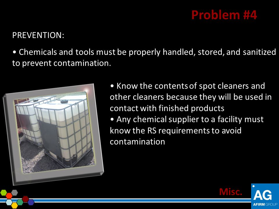 Problem #4 Misc. PREVENTION: